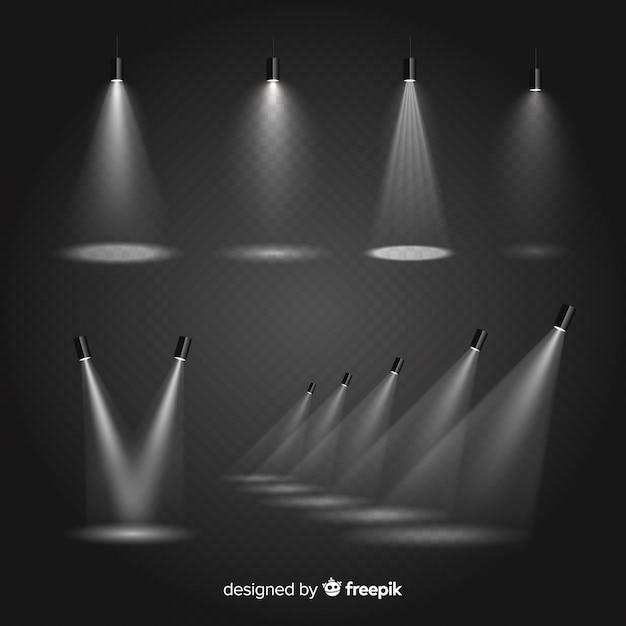 Set de iluminaciones de escena vector gratuito
