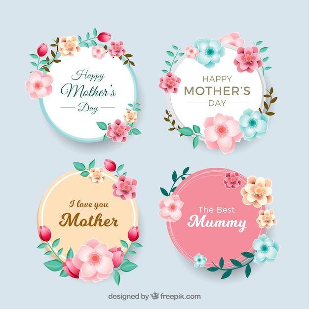 Set de insignias del día de la madre vector gratuito