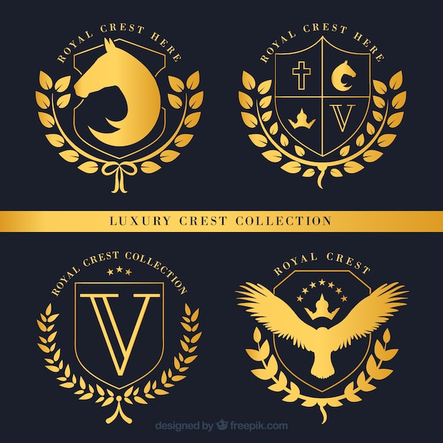 Set de insignias doradas de escudos lujosos vector gratuito