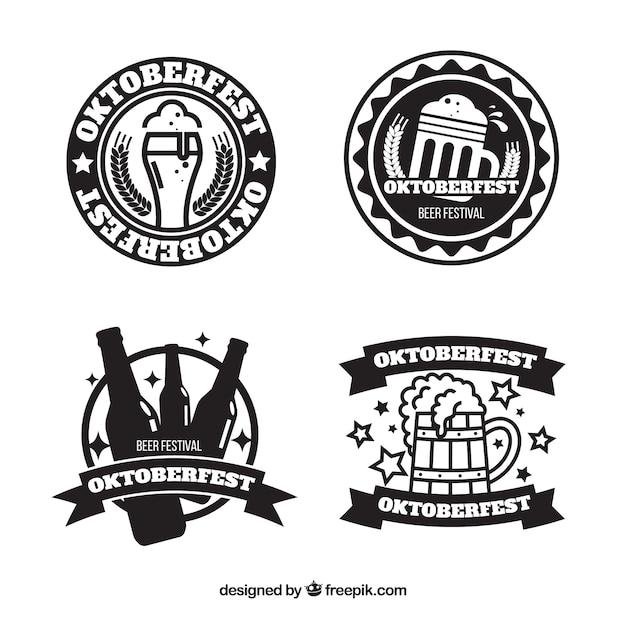 Set de insignias del festival de la cerveza vector gratuito