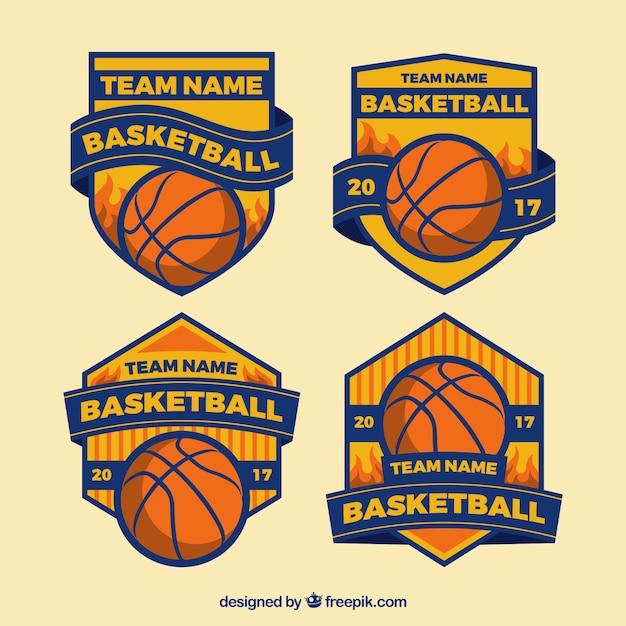 Set de insignias retro de equipos de baloncesto vector gratuito