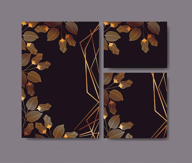 Set de invitaciones tarjetas con decoración floral. vector gratuito