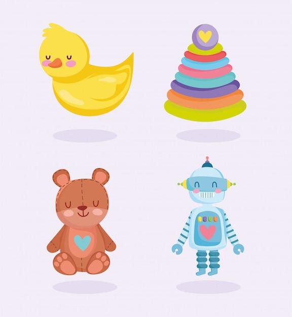 Set de juguetes para niños Vector Premium