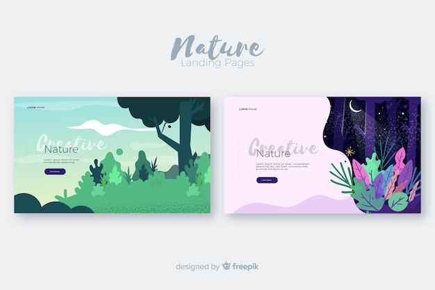 Set de landing pages de naturaleza vector gratuito