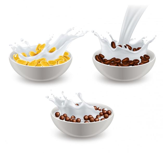 Set de leche de cereales de desayuno realista vector gratuito