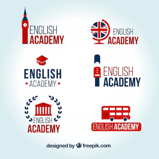 Set de logos de academia de inglés vector gratuito