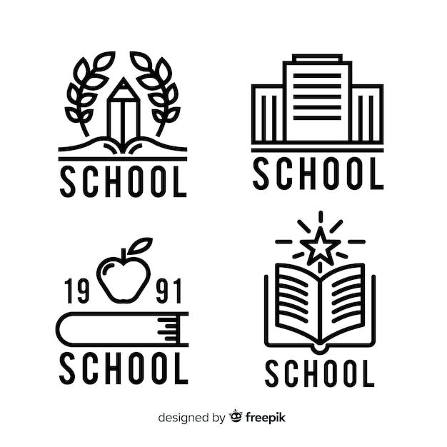 Set de logos para colegios o universidades vector gratuito
