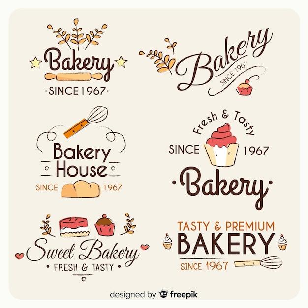 Set de logos de panadería vector gratuito