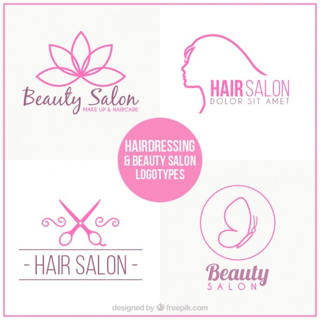 Set de logos de peluquería dibujados a mano vector gratuito