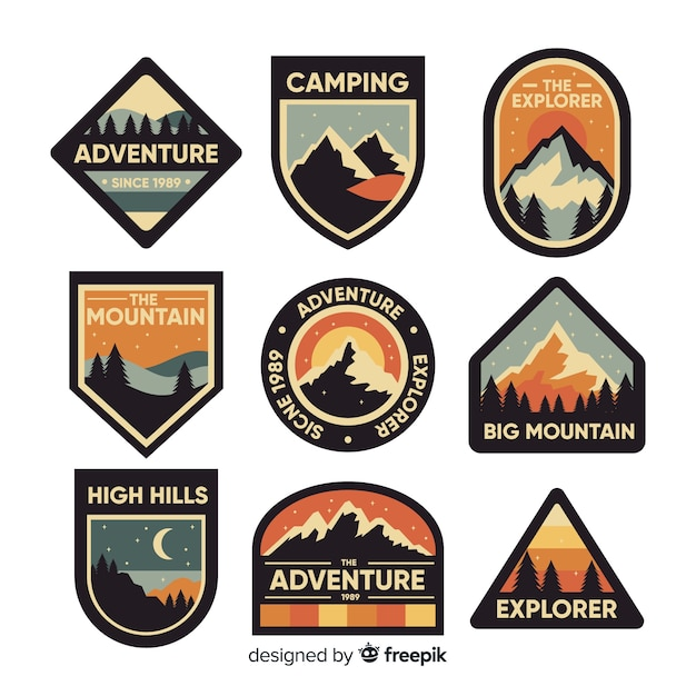 Set de logos retros de aventuras vector gratuito