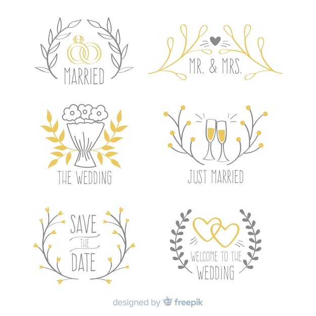 Set de logotipos de boda vector gratuito