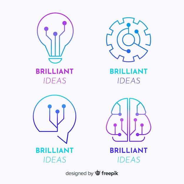Set de logotipos de concepto tecnológico de estilo degradado vector gratuito