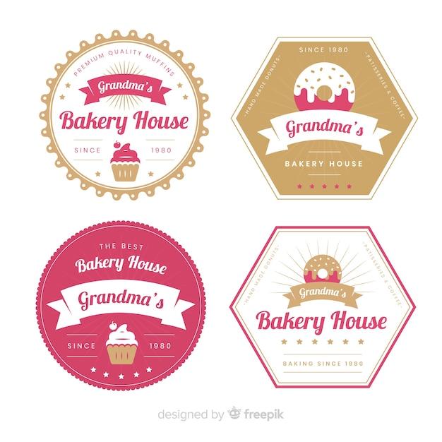 Set de logotipos de panadería vector gratuito