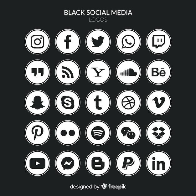 Set de logotipos de redes sociales vector gratuito