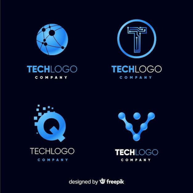 Set de logotipos tecnológicos vector gratuito