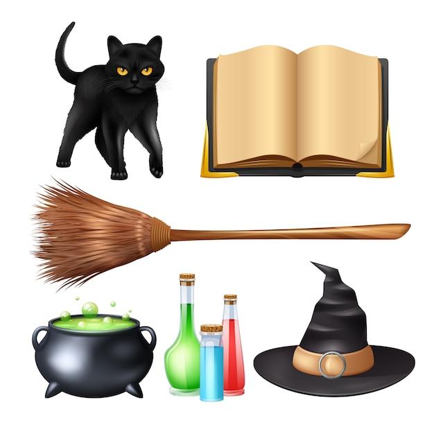 Set de magia de halloween vector gratuito