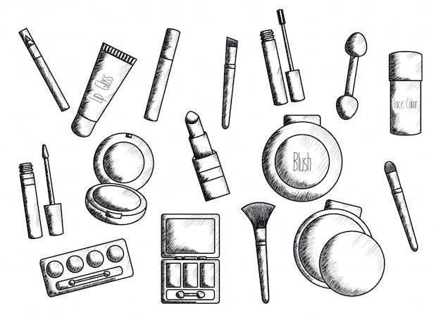 Set de maquillaje accesorios de dibujo. vector gratuito