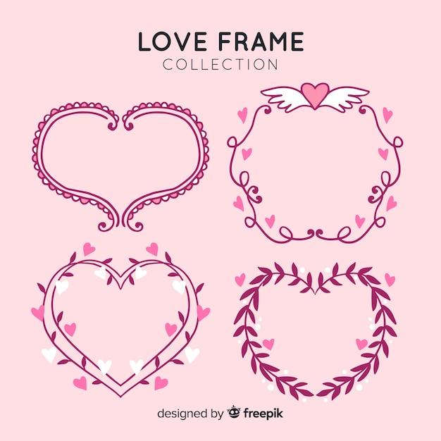 Set de marcos de amor vector gratuito