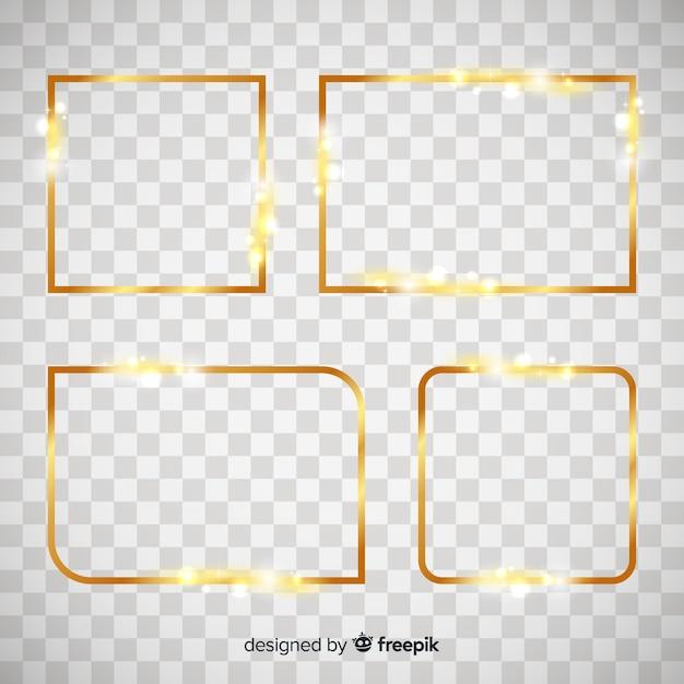 Set de marcos dorados sobre fondo transparente vector gratuito