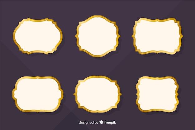 Set de marcos retro dorados vector gratuito