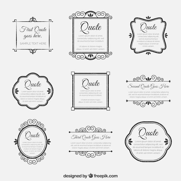 Set de marcos retro ornamentales de citas vector gratuito