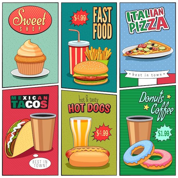 Set de mini carteles de comida rápida vector gratuito