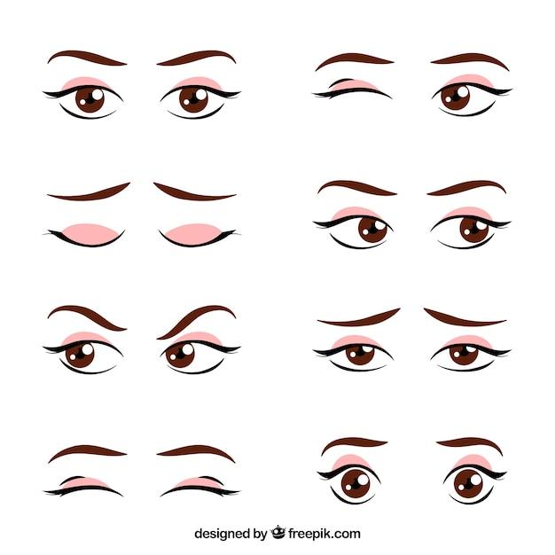 Set de miradas femeninas dibujadas a mano vector gratuito