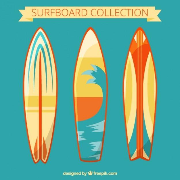 Set de modernas tablas de surf vector gratuito