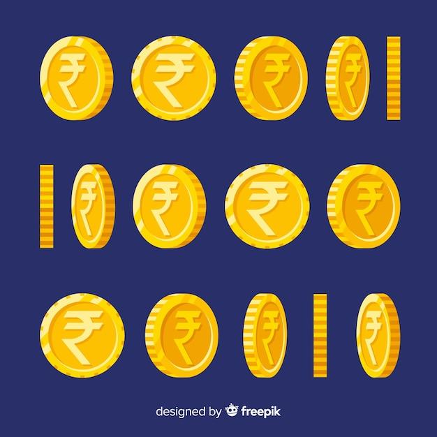 Set de monedas de rupias indias vector gratuito
