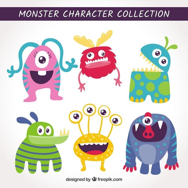 Set de monstruos graciosos en estilo hecho a mano Vector Premium