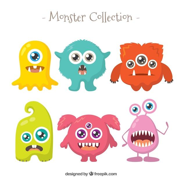 Set de monstruos graciosos en estilo plano vector gratuito