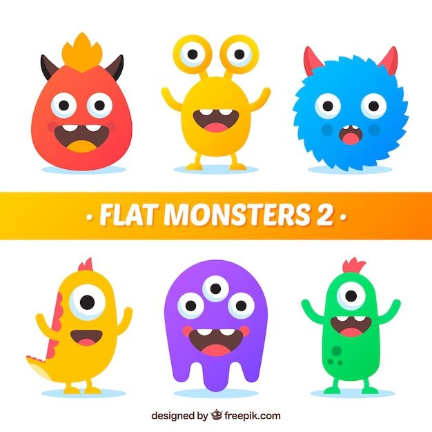 Set de monstruos graciosos en estilo plano Vector Premium