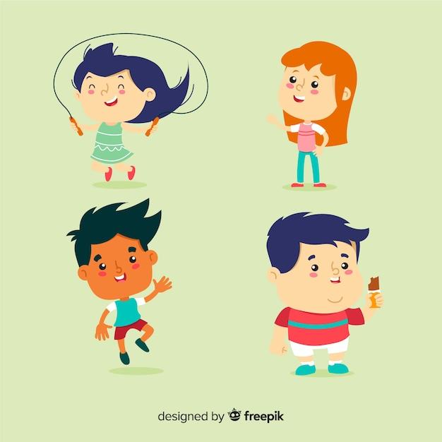 Set de niños vector gratuito