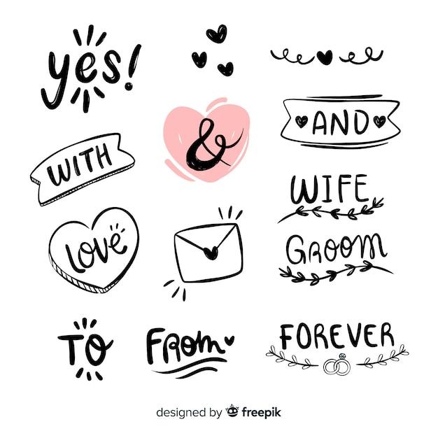 Set de palabras de boda a mano vector gratuito