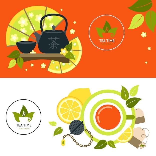 Set de pancartas de té vector gratuito