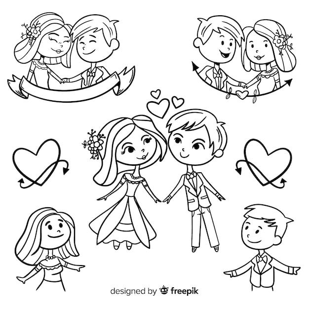 Set de pareja de novios vector gratuito