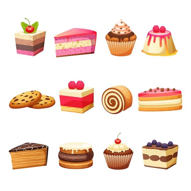 Set de pasteles y dulces. vector gratuito