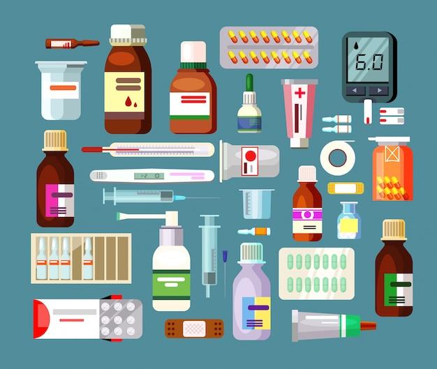 Set de pastillas y suspensiones en botellas. vector gratuito