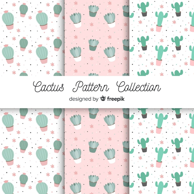 Set patrones cactus dibujado a mano Vector Premium