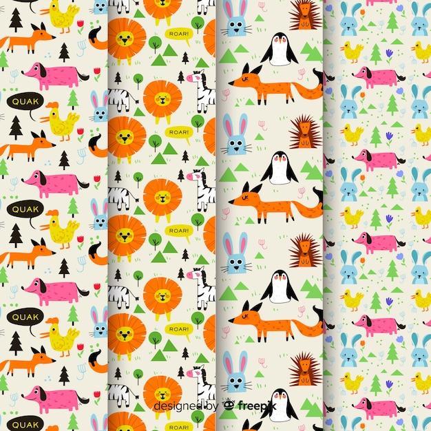 Set patrones garabatos animales y palabras coloridos vector gratuito