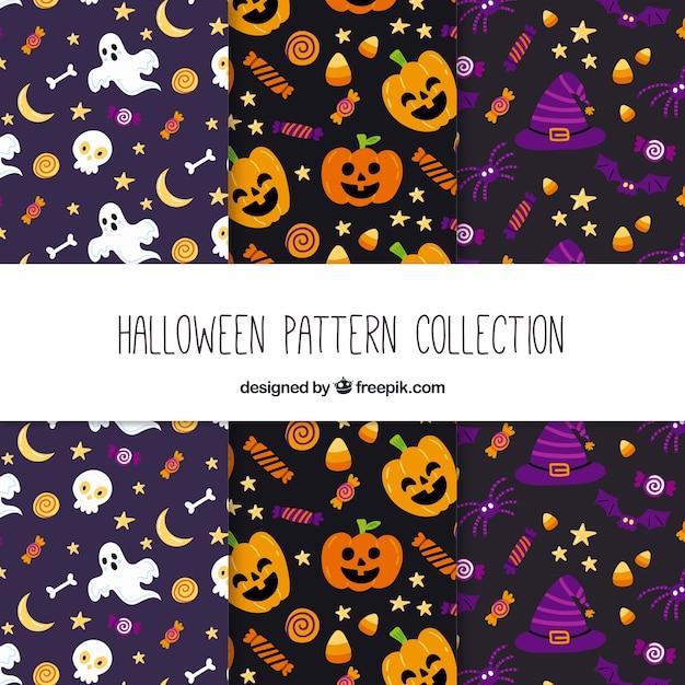 Set de patrones de halloween en diseño plano vector gratuito