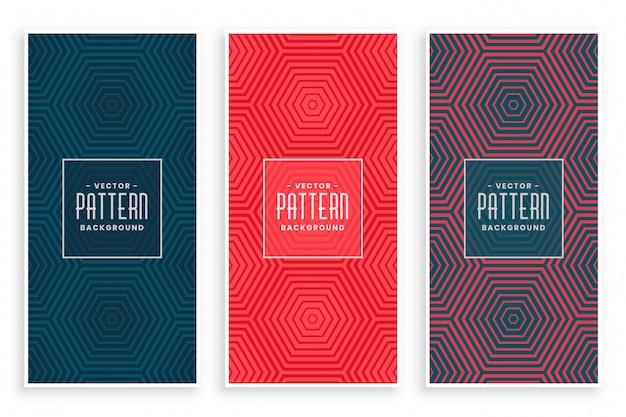 Set de patrones con líneas hexagonales vector gratuito