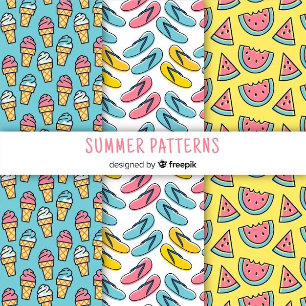 Set de patrones de verano vector gratuito
