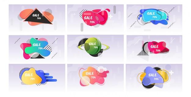 Set pegatinas de gran venta oferta especial compras descuento insignias colección de banners abstractos de color fluido con formas líquidas que fluyen estilo horizontal de memphis Vector Premium