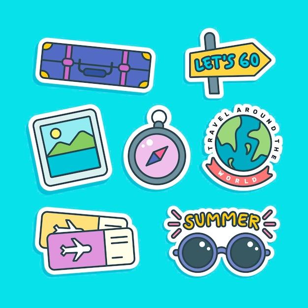 Set de pegatinas de viaje vector gratuito