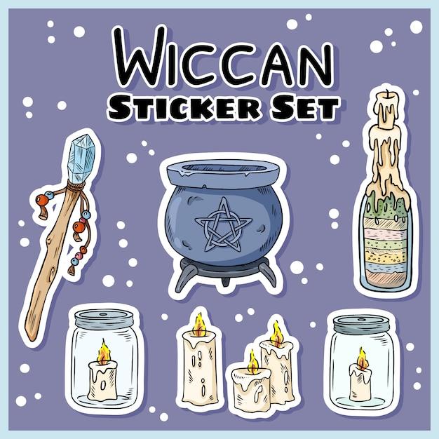 Set de pegatinas wiccan Vector Premium