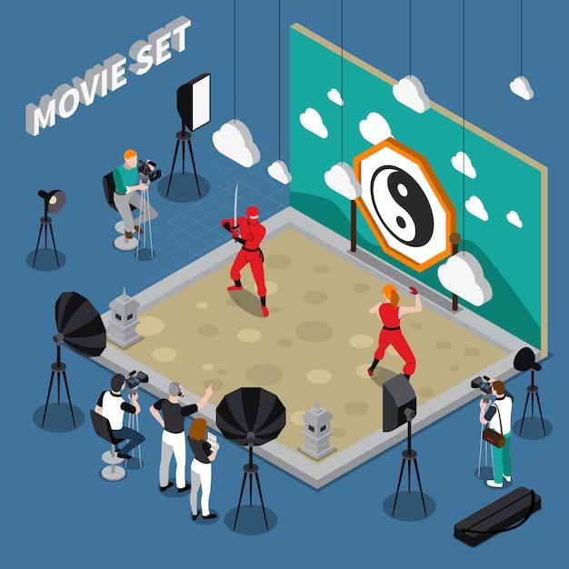 Set de película isométrica ilustración vector gratuito