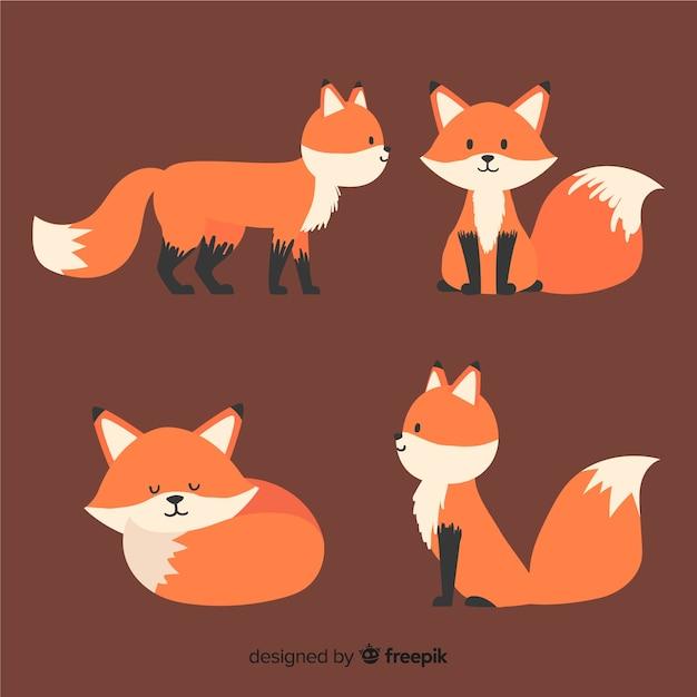 Set de pequeños zorros adorables vector gratuito