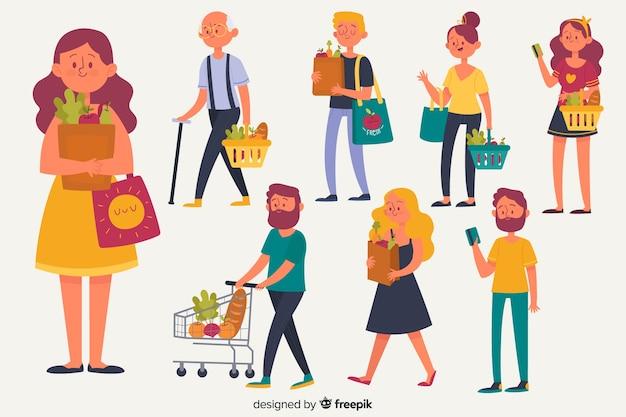 Set de personajes comprando comida vector gratuito
