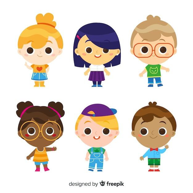 Set de personajes por el día del niño vector gratuito